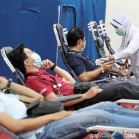 Donors donating their blood for Penang General Hospital blood bank during MCO at Caring Society Complex, Penang./Picby:CHAN BOON KAI/The Star/20 April 2020.